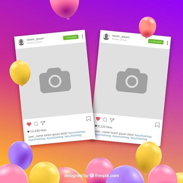 Instagram colorful frame Free Vector