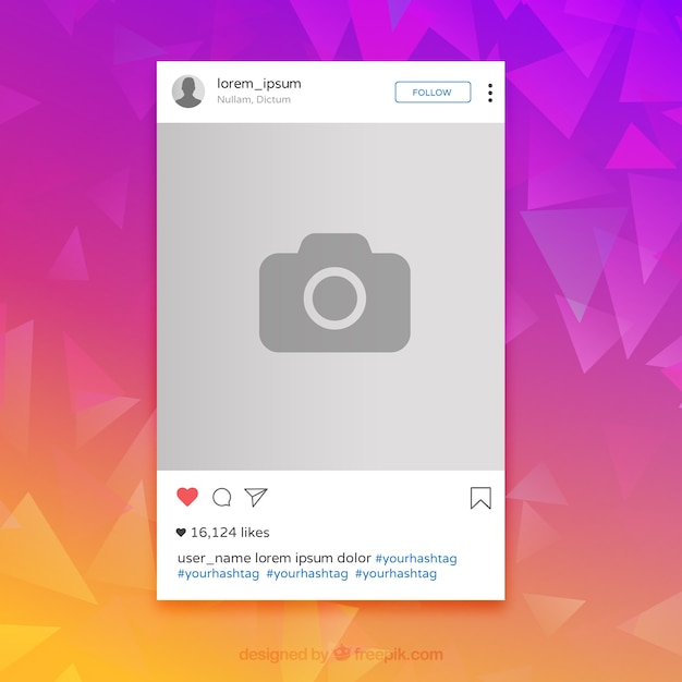 Instagram colorful frame Free Vector