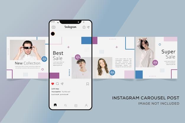 Instagram Crousel 템플릿 배너 패션 판매 프리미엄 프리미엄 벡터