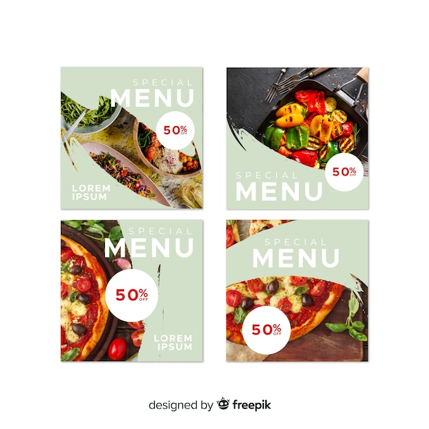 Instagram culinary photo posts Free Vector