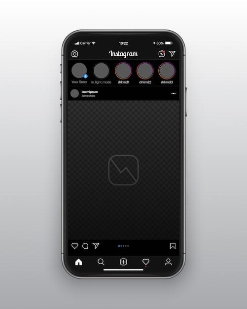 Instagram dark mode ui ux template Premium Vector