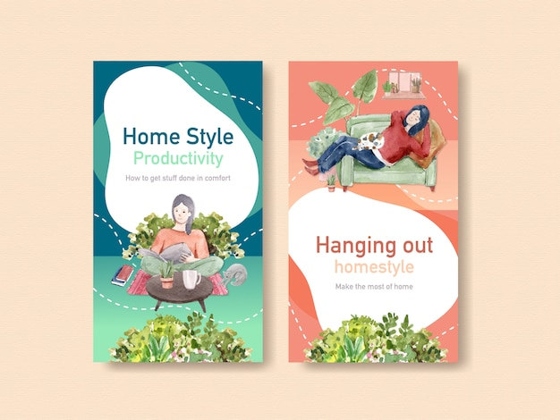 Instagram design stay at home concept with people character and interior room watercolor illustration Free Vector