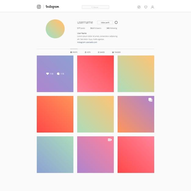Instagram on desktop platform template Vector | Premium Download