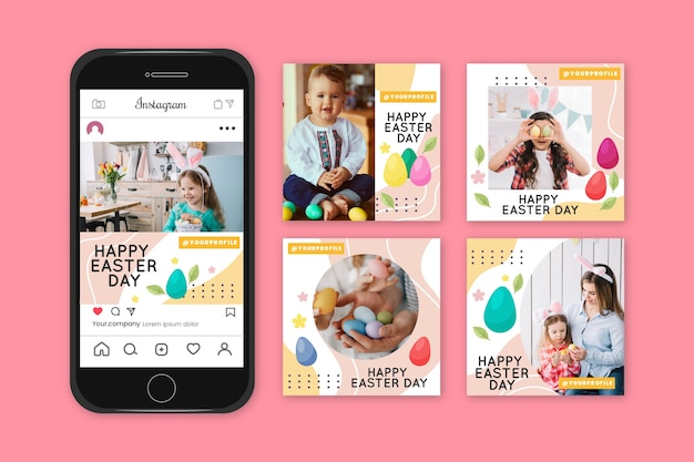 Instagram easter day post collection Free Vector