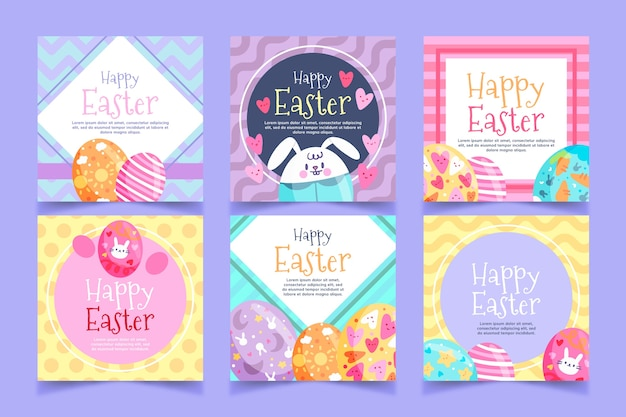 Instagram easter day posts Free Vector