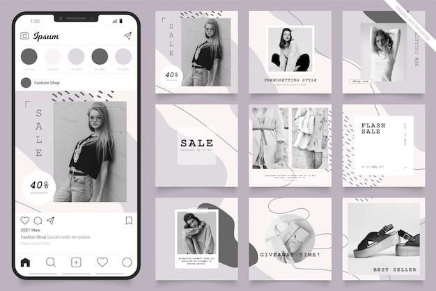 Instagram и facebook квадратная рамка головоломки плакат. социальный медиа пост баннер для продвижения моды продажи Premium векторы