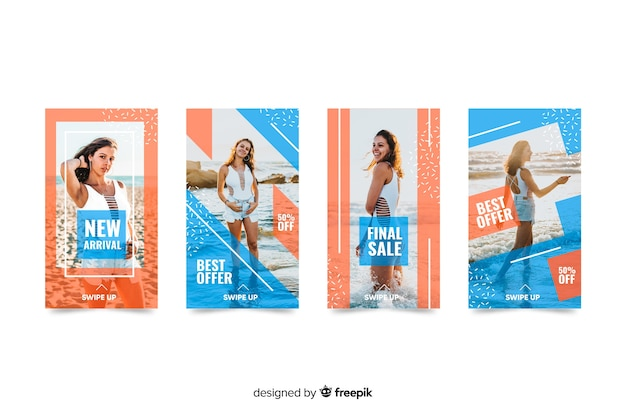 Instagram fashion post collection with photo Free Vector