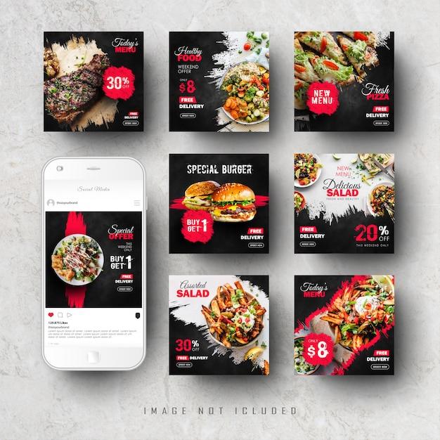Фастфуд социальные медиа instagram feed banner шаблон Premium векторы