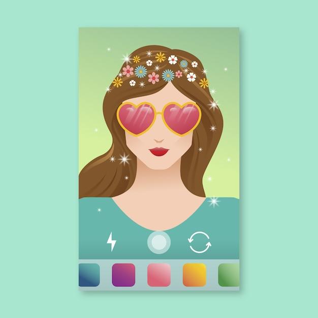 Фильтр instagram с очками в форме сердца Бесплатные векторы