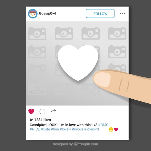 Instagram frame with finger