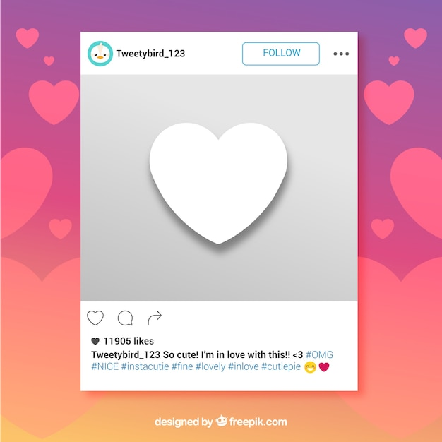 Instagram frame with heart Vector | Free Download