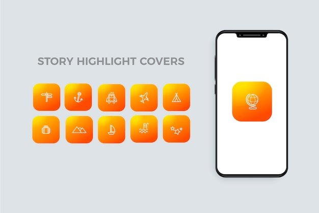 Instagram gradient stories highlights with icons Free Vector