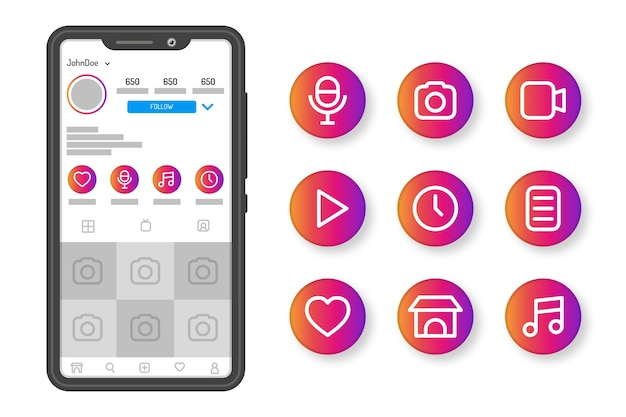 Instagram gradient stories highlights Free Vector