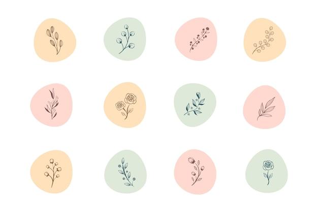 Instagram рисованной цветочные истории основные моменты Premium векторы