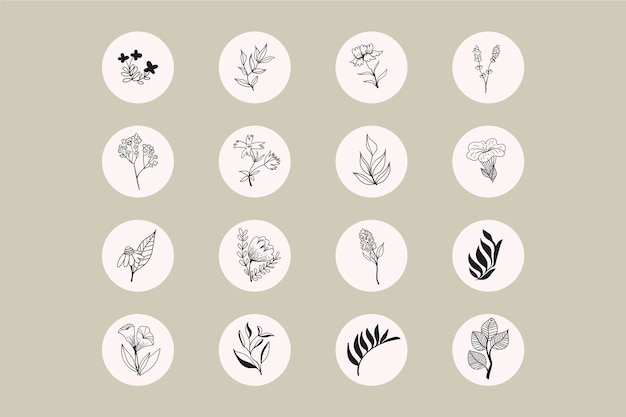 Instagram hand drawn floral stories highlights Free Vector