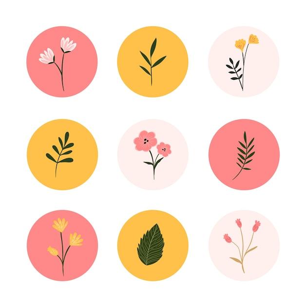 Instagram 손으로 그린 꽃 이야기 하이라이트 프리미엄 벡터