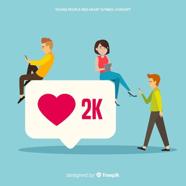 Instagram heart. teenagers on social media. character design. Free Vector