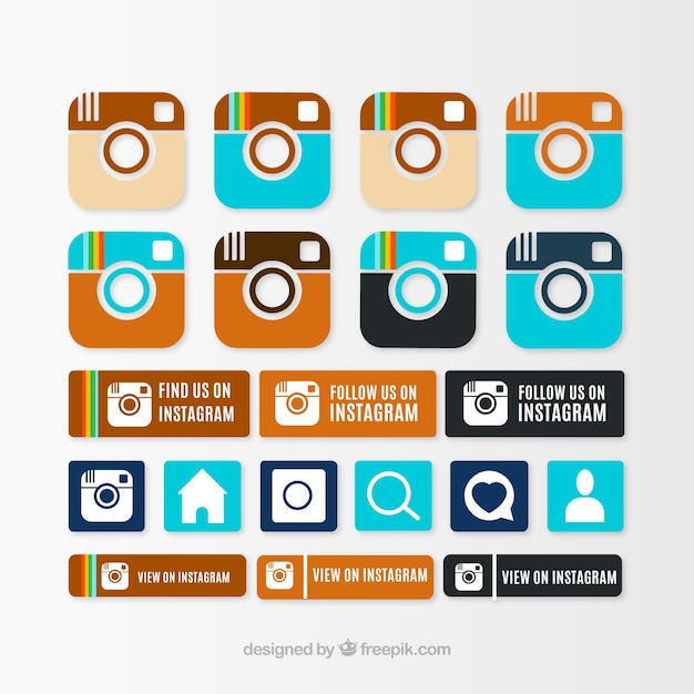 Instagram icon collection Vector | Free Download