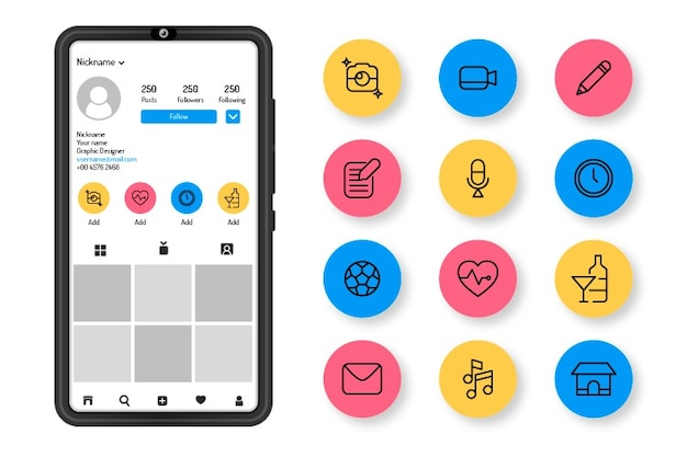 Instagram icon stories highlights Free Vector