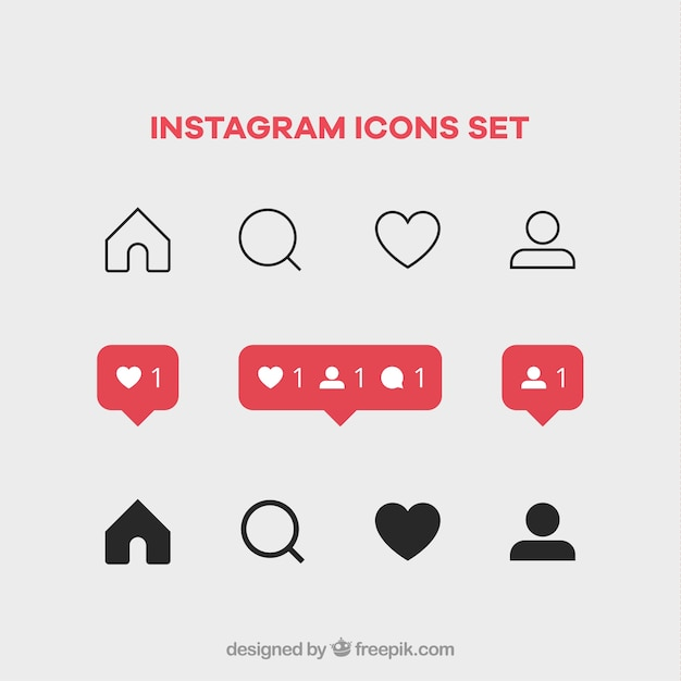 Instagram icons set Premium Vector