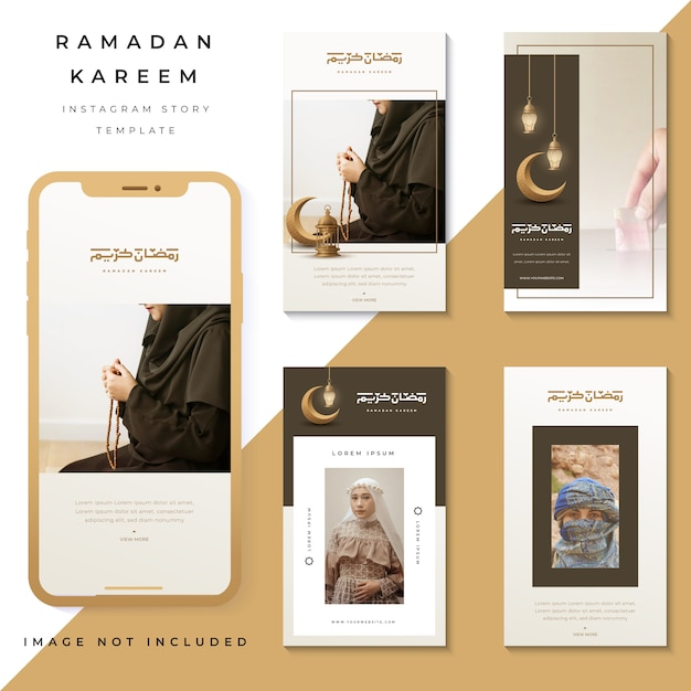 Набор instagram историй рамадан карим, instagram шаблон фото Premium векторы