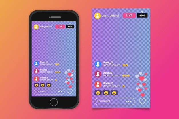 Instagram interface streaming Free Vector