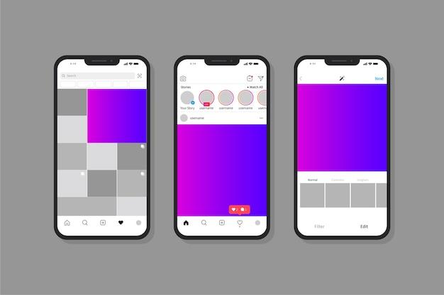Instagram интерфейс с мобильным телефоном Бесплатные векторы