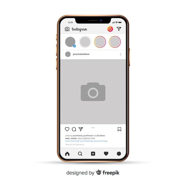 Реалистичная фоторамка instagram на iphone Бесплатные векторы