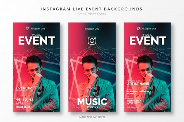 Instagram live event backgrounds for insta stories Free Vector
