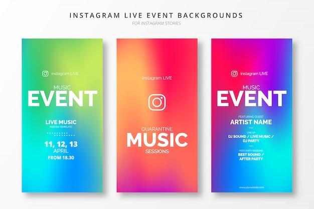 Instagram live event gradient insta stories template set Free Vector