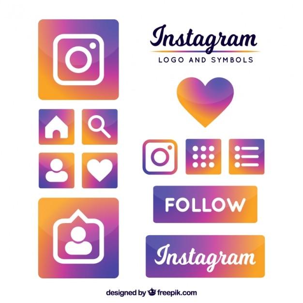 Instagram logo and symbols Free Vector