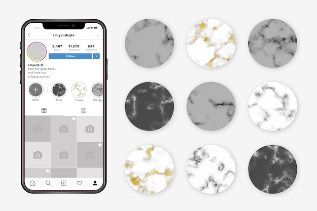 Instagram marble stories highlights Free Vector