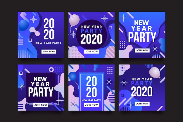 Instagram new year party post collection Free Vector