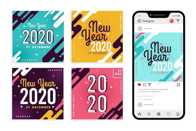 Instagram new year party post set Free Vector