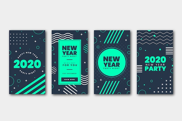 Instagram new year party story set Free Vector