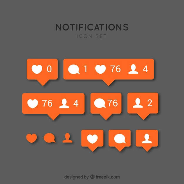 Instagram notification icons Free Vector