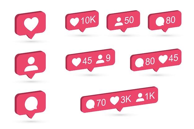 Instagram notifications icon set. 3d design with flat colors. vector illustration. Premium Vector