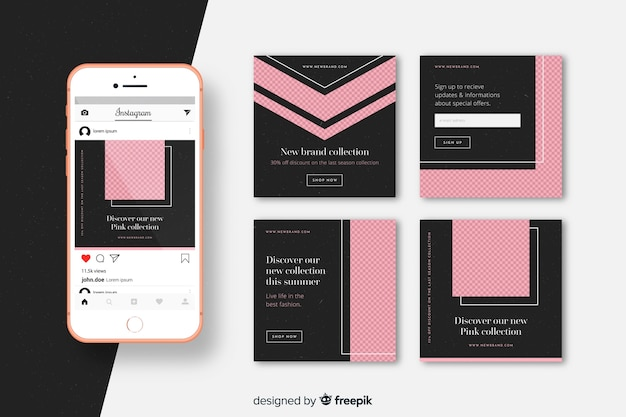 Instagram pink post collection template Free Vector