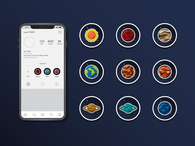 Instagram planets vector stories highlight Premium Vector