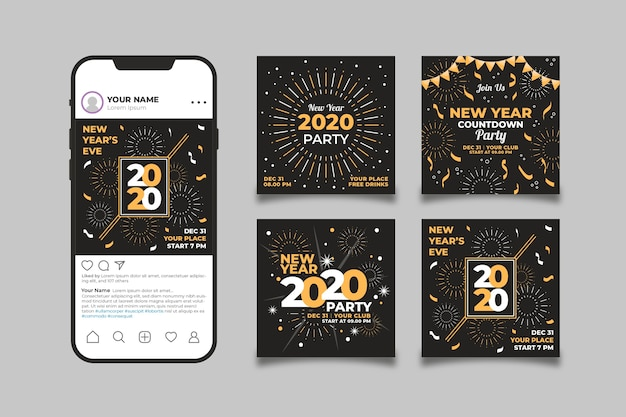 Instagram platform filled with new year photos Free Vector