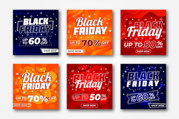 Instagram post black friday collection Free Vector