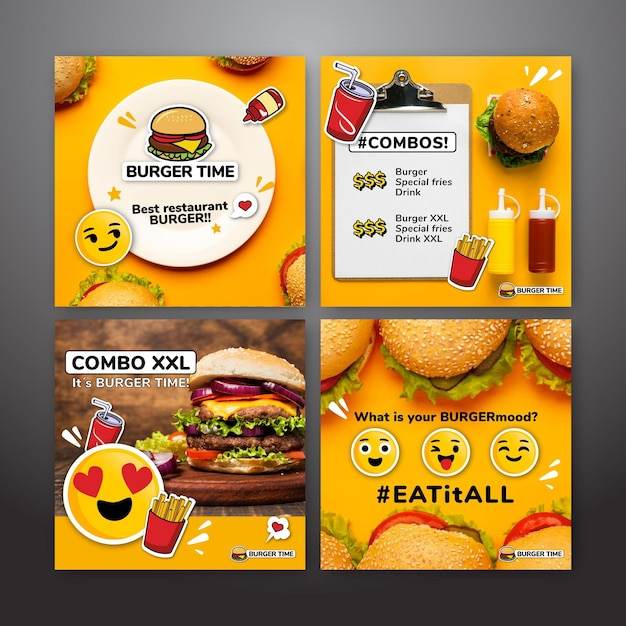 Instagram post collection for fast food Premium Vector
