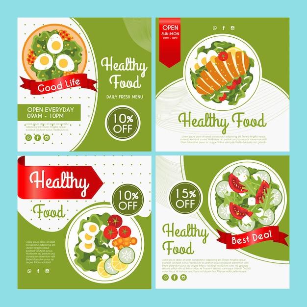 Коллекция постов в instagram для здоровой пищи Premium векторы