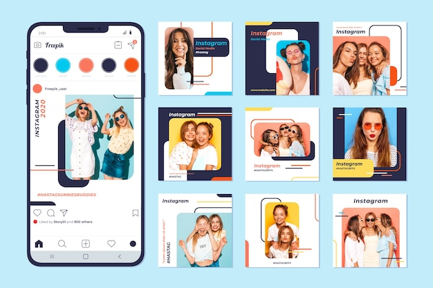 Instagram post collection on mobile phone Free Vector