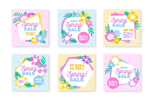 Instagram post collection for spring Free Vector