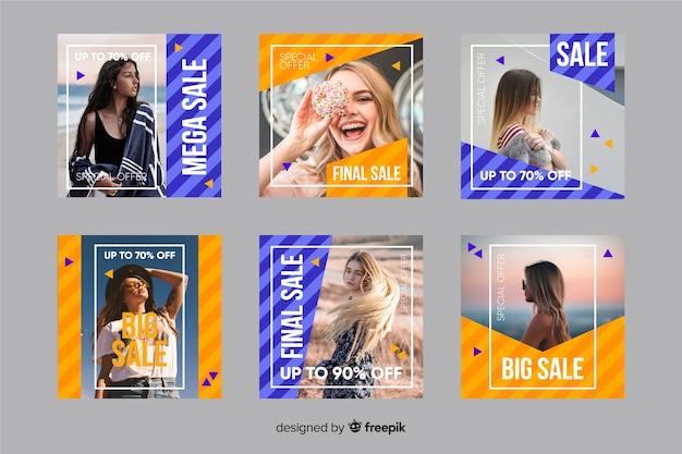 Instagram post collection template with photo Free Vector