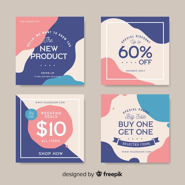 Instagram post collection template Free Vector