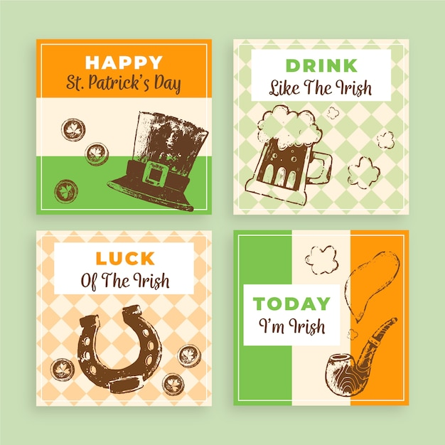 Instagram post collection theme with st. patricks day Free Vector