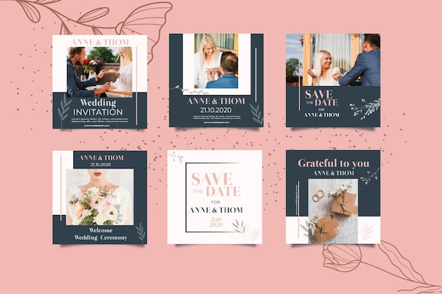Instagram post collection for wedding with flowers Free Vector