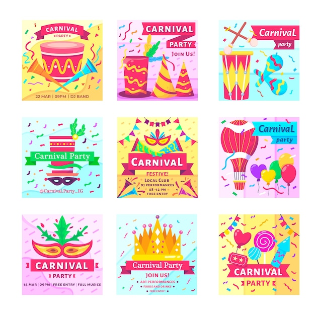 Instagram post collection with carnival theme Free Vector